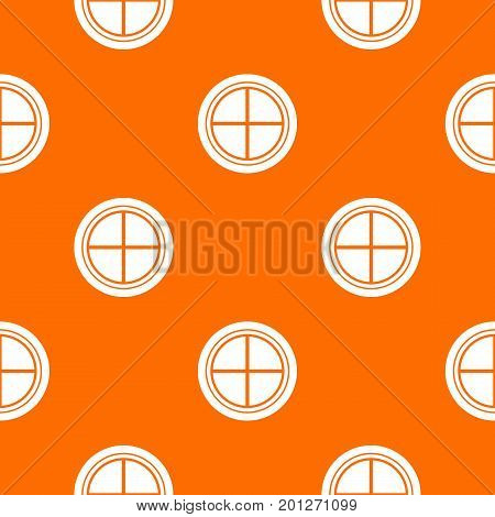 White round window pattern repeat seamless in orange color for any design. Vector geometric illustration