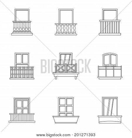 Architecture balcony icon set. Outline set of 9 architecture balcony vector icons for web isolated on white background