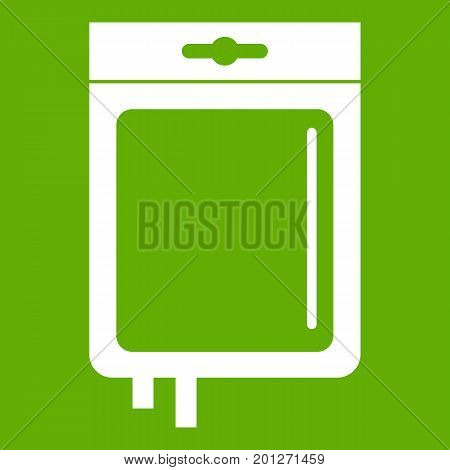 Blood transfusion icon white isolated on green background. Vector illustration