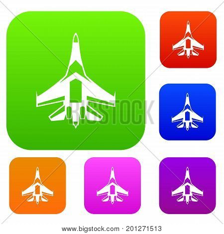 Jet fighter plane set icon in different colors isolated vector illustration. Premium collection