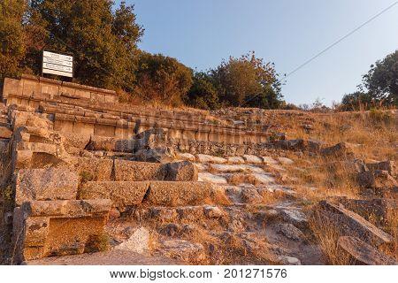 Ruins Of Ancient Amphitheatre In Erytrai Ildiri Turkey