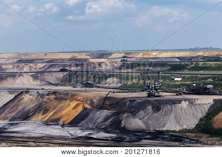 Garzweiler opencast mining lignite North Rhine-Westphalia Germany controversial energy production the surface mine arouses protest among residents and environmental protection