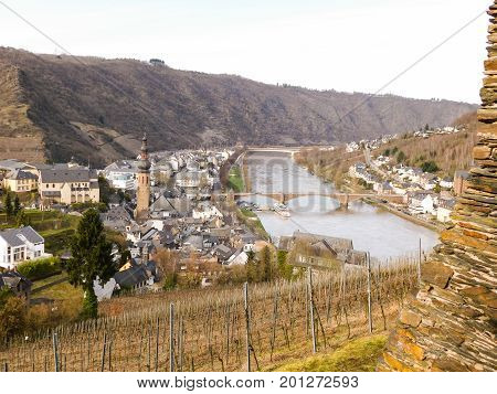 View from the Cochem Castle, Germany. Looking out over the town of Cochem and the Moselle River