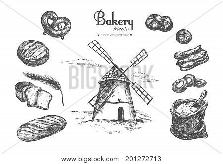 Bakery shop concept poster banner. Different types of bread and Windmill. Sack of flour and wheat. Vector hand drawn illustration. Isolated objects on white