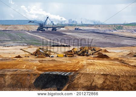 Garzweiler opencast mining lignite surface mine in North Rhine-Westphalia Germany controversial energy production against environmental protection arouses protest in the population selected focus