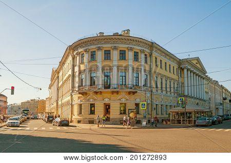 ST PETERSBURG RUSSIA - AUGUST 15 2017. Adamini House built in St Petersburg Russia- one of the most important buildings of Domenico Adamini Russian engineer and architect of Swiss origin. St Petersburg Russia landmark