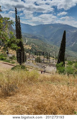 Panorama of Amphitheater in Ancient Greek archaeological site of Delphi, Central Greece