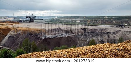 Destroyed landscape in Garzweiler opencast mining lignite surface mine in North Rhine-Westphalia Germany controversial energy production against environmental protection panorama format