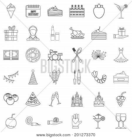 Entertainment icons set. Outline style of 36 entertainment vector icons for web isolated on white background