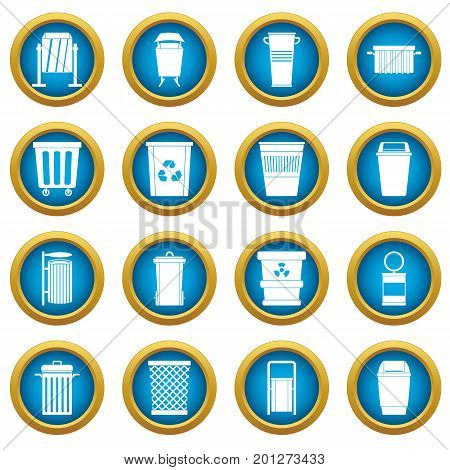 Garbage container icons blue circle set isolated on white for digital marketing