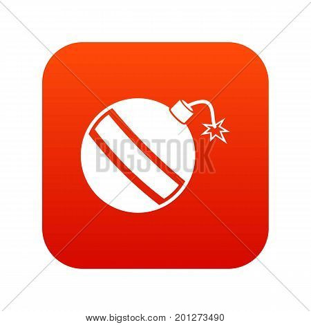 Bomb icon digital red for any design isolated on white vector illustration