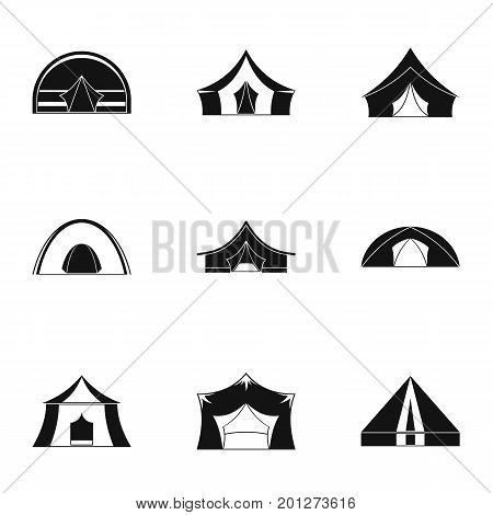 Travel tent form icon set. Simple set of 9 travel tent form vector icons for web isolated on white background
