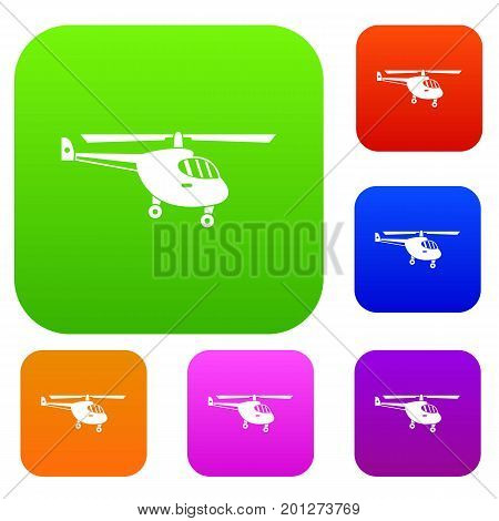 Helicopter set icon in different colors isolated vector illustration. Premium collection poster