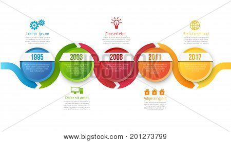 Infographic style colored timeline arrows or menu 5 options, vector on white background