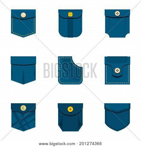 Blue pocket icon set. Flat set of 9 blue pocket vector icons for web isolated on white background