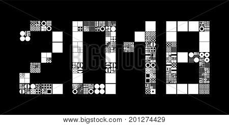 2018 New Year abstract vector background. Subdivided grid system with symbols in form of 2018. Randomly sized objects. Futuristic minimalistic conceptual generative layout. Procedural graphics