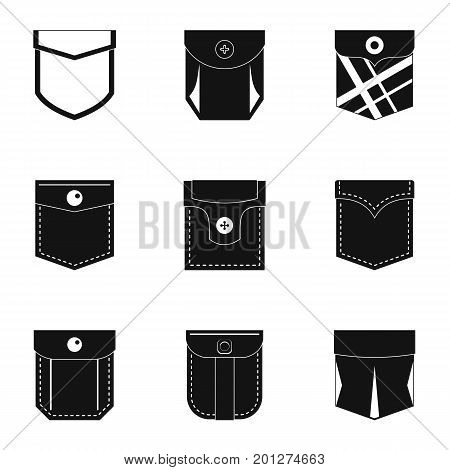 Fashion pocket form icon set. Simple set of 9 fashion pocket form vector icons for web isolated on white background