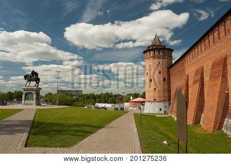 Kolomna Russia - May 22 2017: Marinkin Tower Of Kremlin Near Monument To Dmitry Donskoy In Kolomna In Summer Sunny Day Moscow Region.