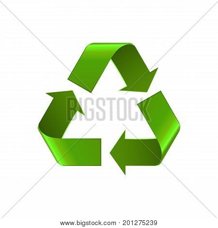 Recycle symbol isolated on white. Realistic vector eco recycle icon, eco symbol