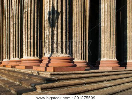 Architecture background of Kazan Cathedral colonnade in St Petersburg Russia - columns and stairs of St Petersburg Russia architecture landmark.