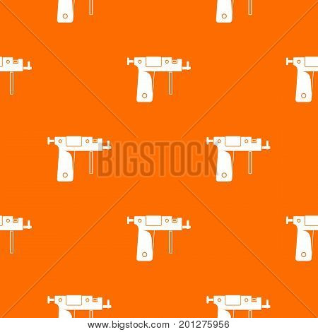 Piercing gun pattern repeat seamless in orange color for any design. Vector geometric illustration