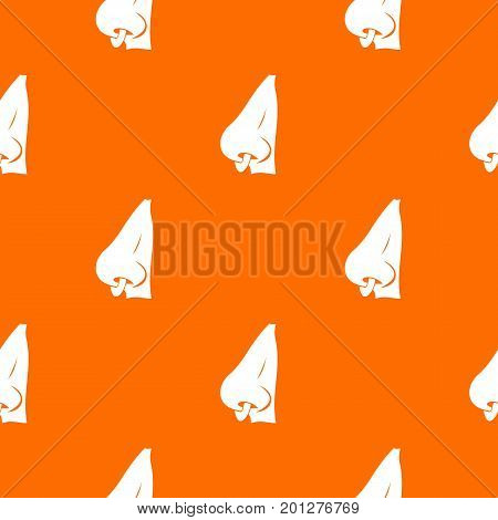 Human nose with piercing pattern repeat seamless in orange color for any design. Vector geometric illustration
