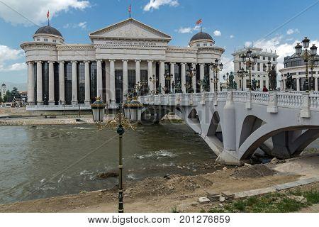 SKOPJE, REPUBLIC OF MACEDONIA - MAY 13, 2017: Skopje City Center and Archaeological Museum, Republic of Macedonia