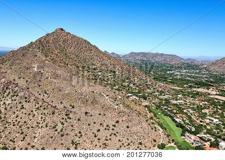 Camelback Mountain and Cholla Trail aerial view