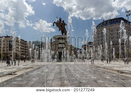 SKOPJE, REPUBLIC OF MACEDONIA - MAY 13, 2017: Skopje City Center and Alexander the Great Monument, Macedonia