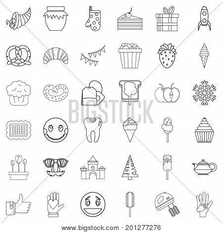 Sweet stuff icons set. Outline style of 36 sweet stuff vector icons for web isolated on white background
