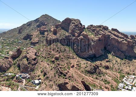 Facing to the southeast with an aerial view of Camelback Mountain and the Echo Canyon Trail in Phoenix Arizona