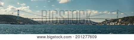 Panoramic view of Fatih Sultan Mehmet Suspension Bridge over Bosphorus in Istanbul Turkey