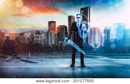 Businessman turned into thunder warriorholding a lightning sword and shield preparation protection precaution and security in business concept .