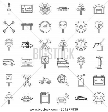 Bus icons set. Outline style of 36 bus vector icons for web isolated on white background