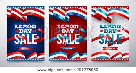 Happy Labor Day with American flag.Labor Day Sale promotion advertising banner template.American labor day BrochuresPoster or Banner.Vector illustration.