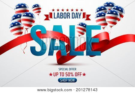 Happy Labor Day with American flag background.Labor Day Sale promotion advertising banner template.American labor day wallpaper.Vector illustration