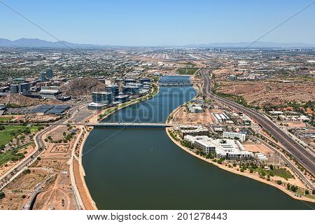 Aerial view looking West over the Tempe Town Lake