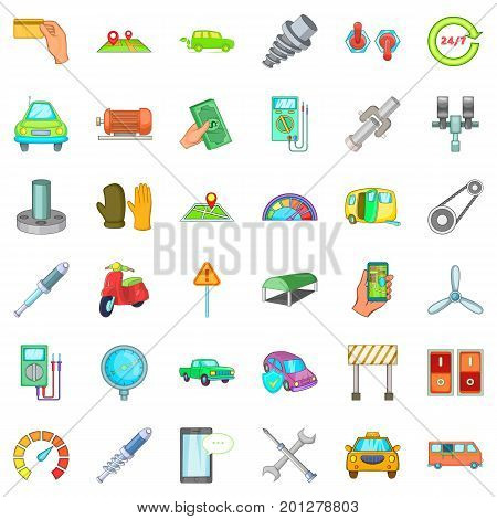 Garage icons set. Cartoon style of 36 garage vector icons for web isolated on white background