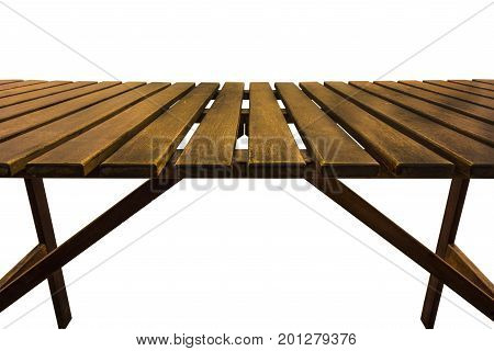 Wooden table isolated on the white background closeup.