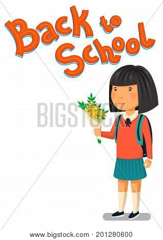 Schoolgirl and Back to school text vector template. Happy asian schoolgirl with backpack holding bouquet of flowers for her teacher. Elementary school student. Flat cartoon illustration.  Vector illustration