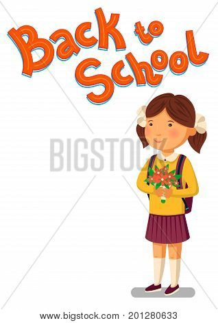Schoolgirl and Back to school text vector template. Happy schoolgirl with backpack holding bouquet of flowers for her teacher. Elementary school student. Flat cartoon illustration. Vector illustration