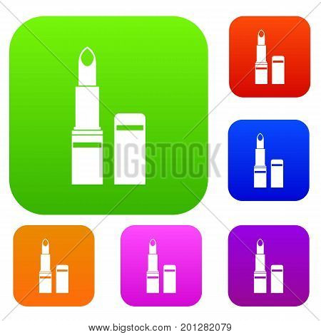 Lipstick set icon in different colors isolated vector illustration. Premium collection