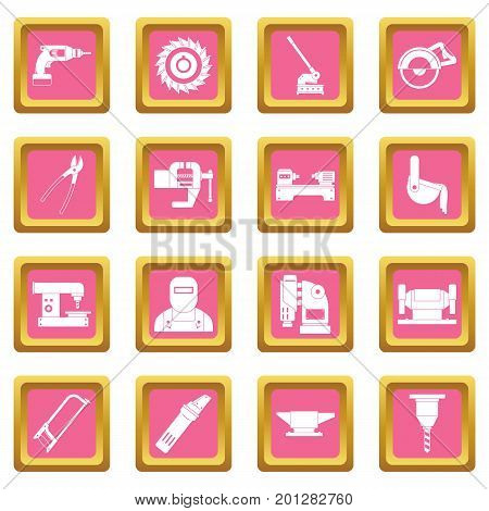 Metal working icons set in pink color isolated vector illustration for web and any design