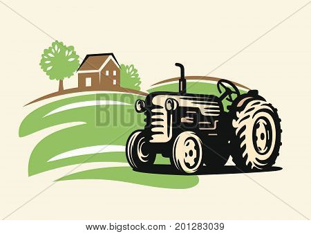 vector country with tractor on beige background