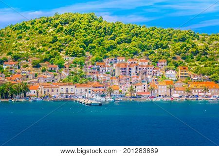 Seafront summer view at Vis town, famous mediterranean travel resort in Croatia, Europe.