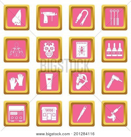 Tattoo parlor icons set in pink color isolated vector illustration for web and any design