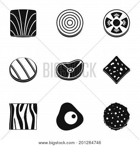 Kitchen slice product icon set. Simple set of 9 kitchen slice product vector icons for web isolated on white background