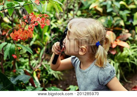 Portrait of cute adorable white Caucasian girl looking at plants flowers begonia through magnifying glass. Child with loupe studying learning nature. Early development education concept.