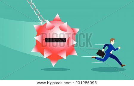 Business Concept As A Businessman Is Running Hurriedly From A Swinging Red Negativity Spiky Steel Wrecking Ball. It Means Trying To Avoid Dangerous Negative Attitude From The Other.
