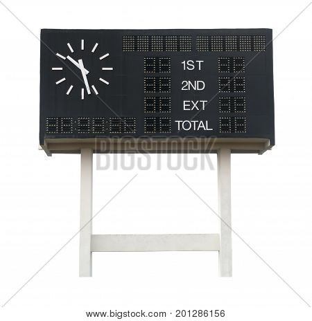 Old Scoreboard at soccer field isolated on white background. This has clipping path.